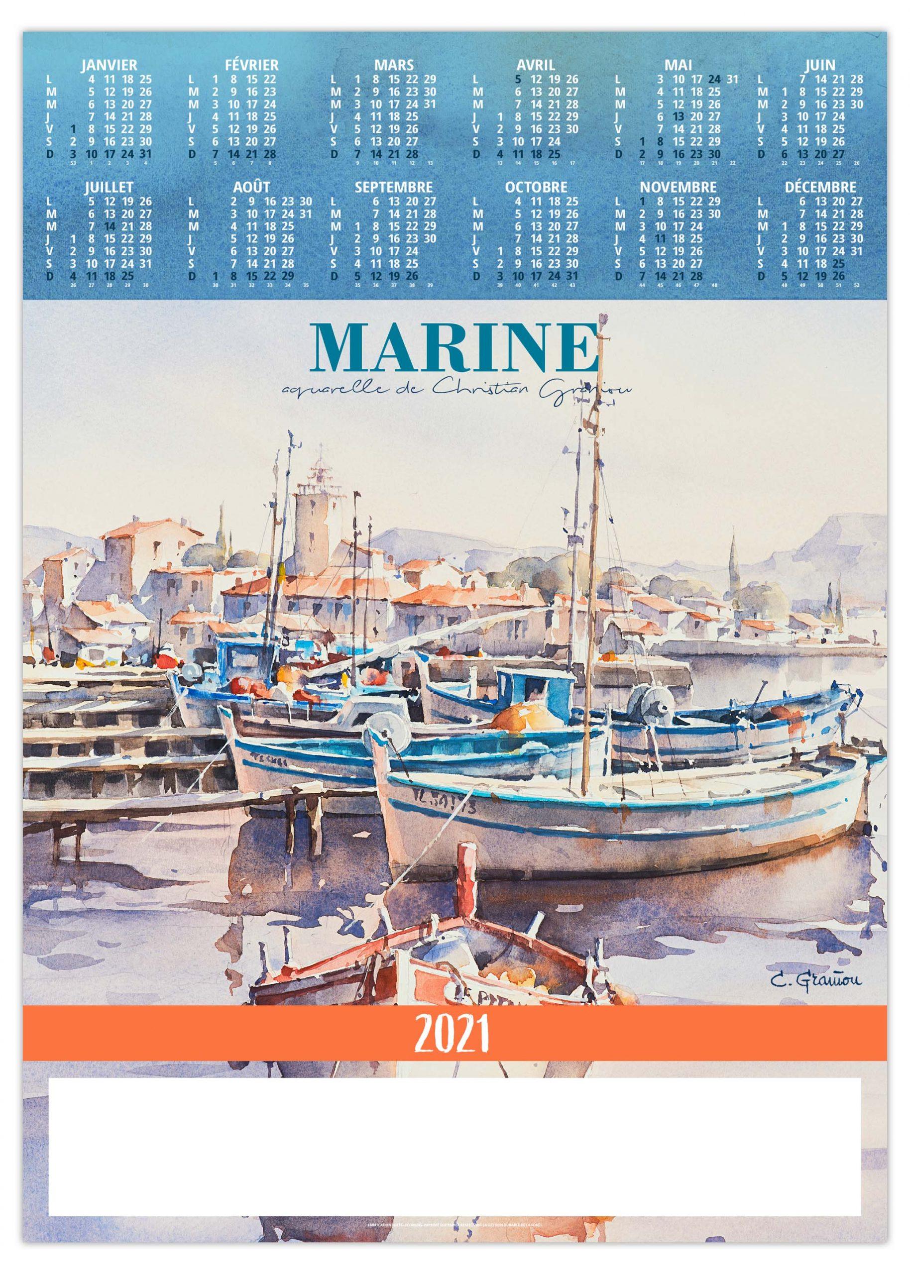 Poster Marine 2021   Calendrier 2021   Sérigraphie & Impression