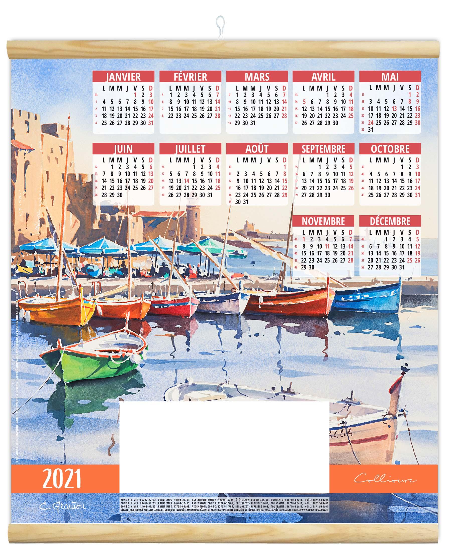 Estampe Murale Amélie 2021   Calendrier 2021   Sérigraphie